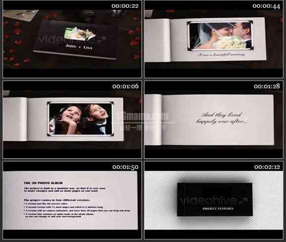 AE1596 3D婚礼相册模板