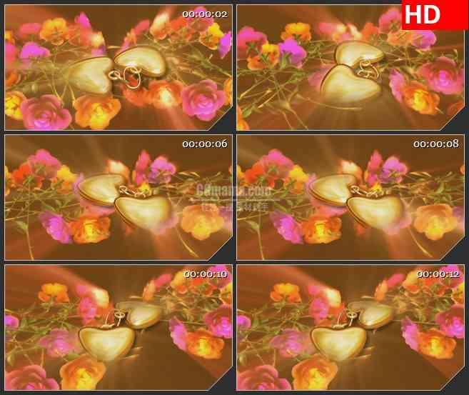 BG0804-心形饰品玫瑰爱情婚礼高清led大屏视频背景素材