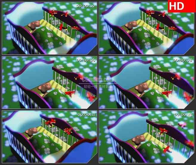 BG0805-小熊在摇篮里睡眠睡觉高清led大屏视频背景素材