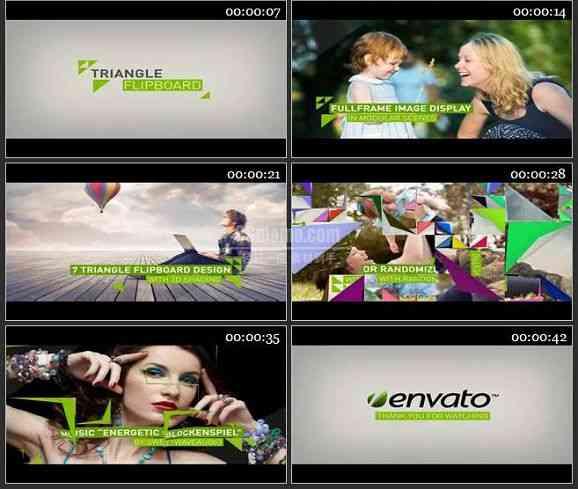 AE1614 三角形动画过渡电视包装模板 图文展示