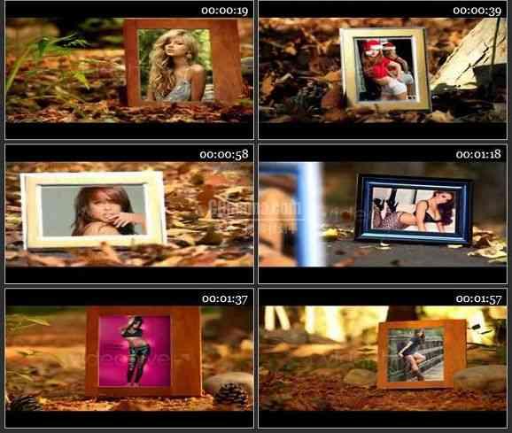 AE1634 秋季公园回忆色彩相片展示模板