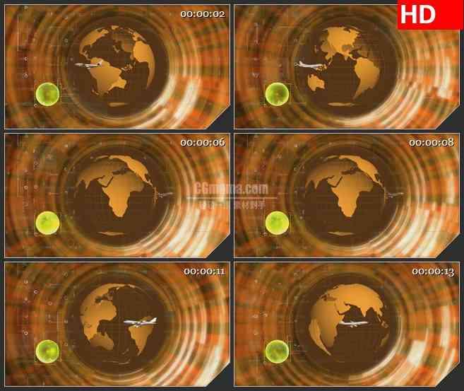 BG0831-飞机环球数据地球科技高清led大屏视频背景合成素材