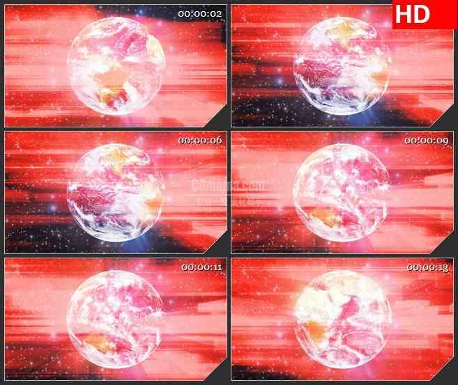 BG0836-地球全球红色辉光高清led大屏视频背景素材