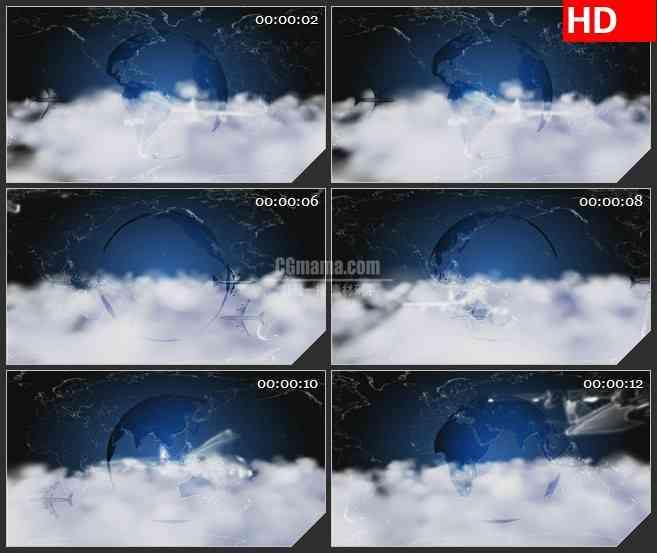 BG0838-地球飞机旅游云层高清led大屏合成高清视频背景素材
