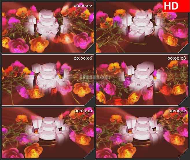 BG0839-蛋糕礼物玫瑰花浪漫高清led背景大屏视频素材