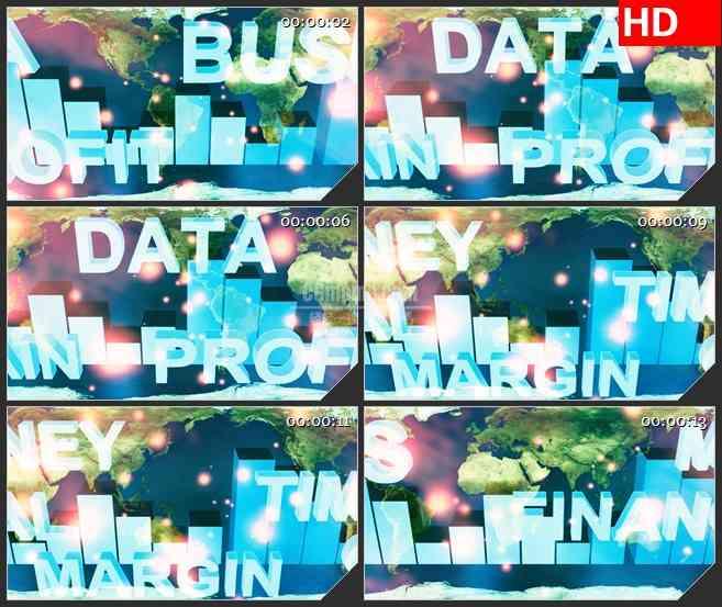 BG0846-世界范围内业务蓝色字体高清led大屏视频背景素材