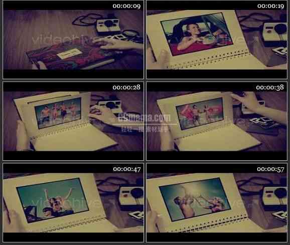 AE1667 复古效果手翻台历视频模板 相册