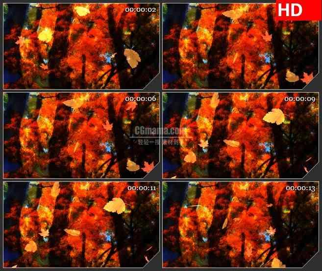 BG0855-秋天的树叶落叶凋零高清led大屏视频背景素材