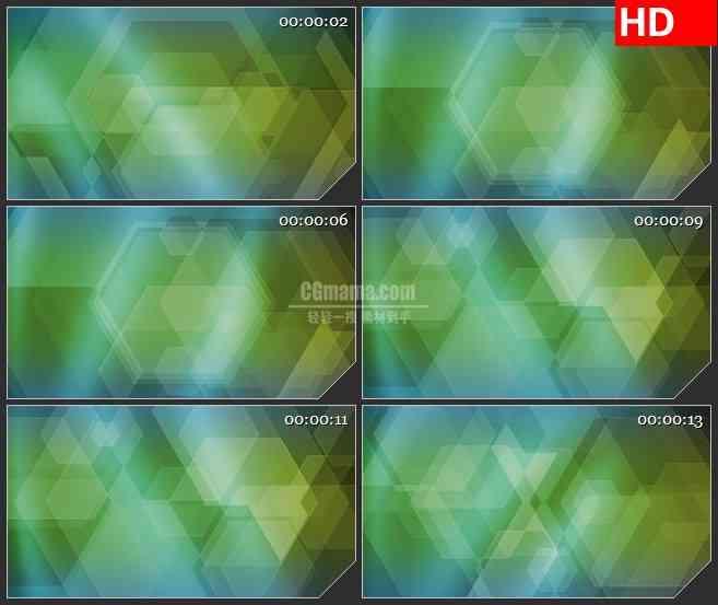 BG0864-绿色六边形形状高清led大屏视频背景合成素材