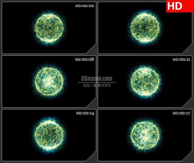 BG0866-绿色粒子光球圆形led背景大屏视频素材