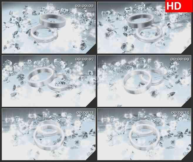 BG0872-浪漫白色玫瑰戒指唯美婚庆高清led大屏视频背景素材