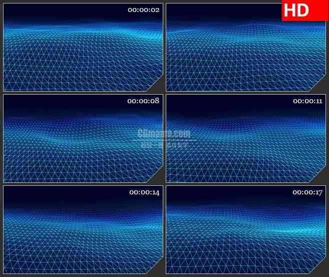 BG0889-蓝色波浪纹理线条高清led大屏视频背景素材