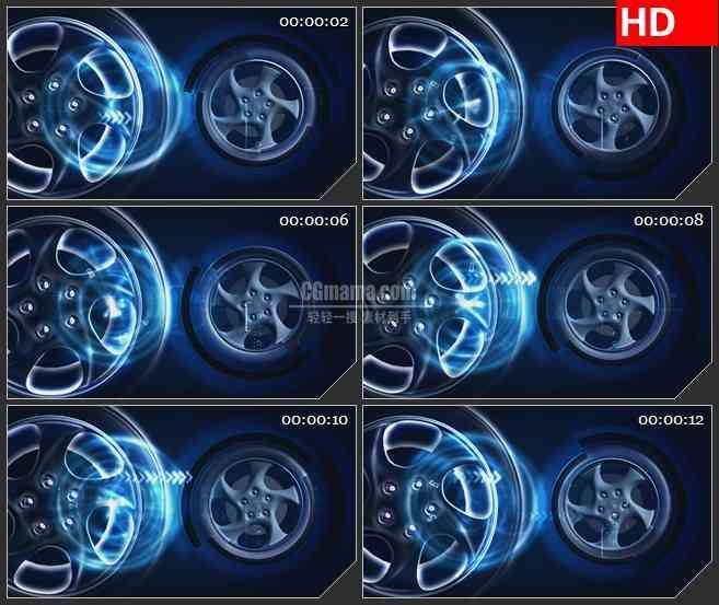 BG0898-车轮轮子旋转数据蓝色科技高清led大屏视频背景素材