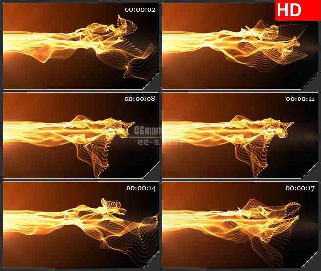 BG0913-黄色火焰蓬噪波勃运动背景高清led大屏视频背景素材