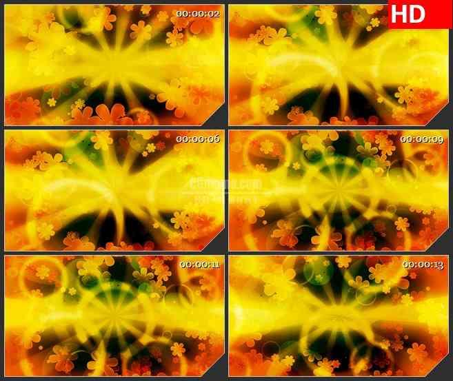 BG0916-黄橙红色三花旋转动态背景高清led大屏视频背景素材