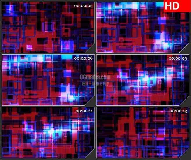 BG0921-红色蓝色方块动感科技感高清led大屏视频背景素材