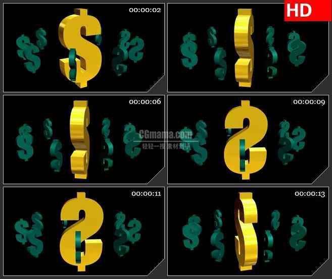 BG0926-三维美元标志模型金融高清led背景视频素材