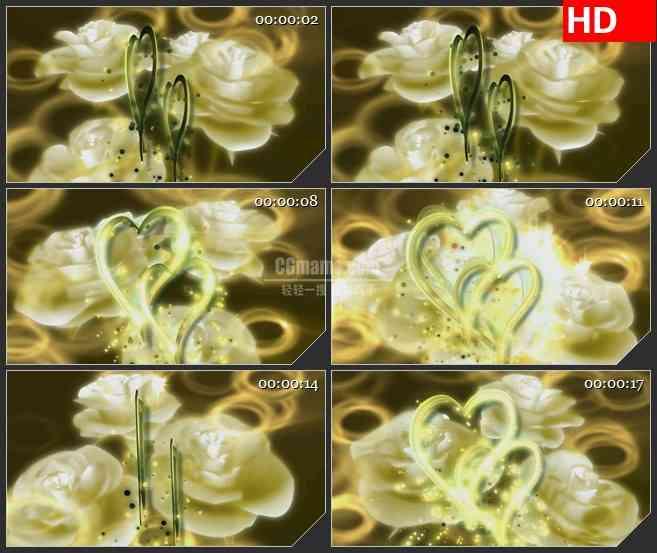BG0930-白玫瑰和闪闪发光的心形婚庆高清led大屏视频背景素材