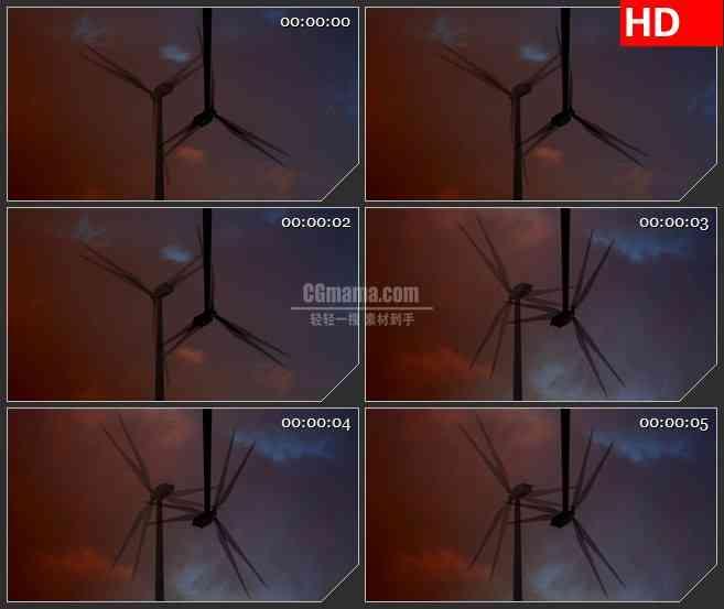 BG0960-风能风车旋转LED高清视频背景素材