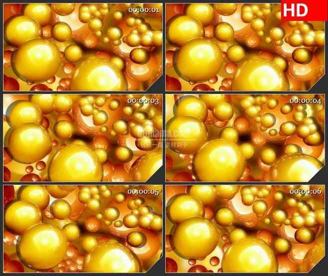BG0980-黄橙色三维立体球旋转运动动态LED背景高清视频素材