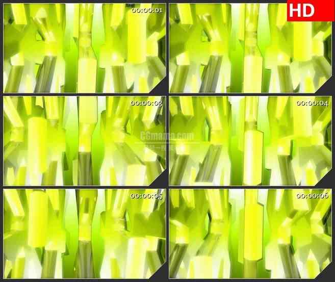 BG0981-黄绿色三维立体齿轮旋转运动高清视频背景素材