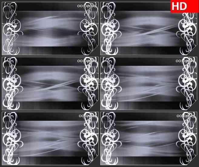 BG0990-灰度老电影背景板白色卷草纹花动态LED背景高清视频素材