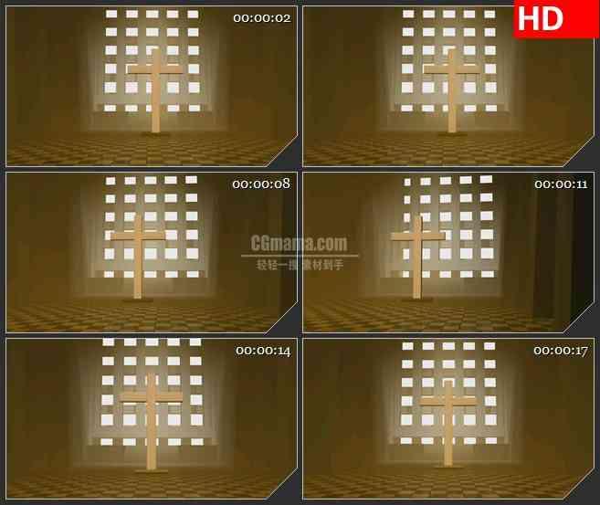 BG0992-教堂里的十字架高清led大屏背景视频素材