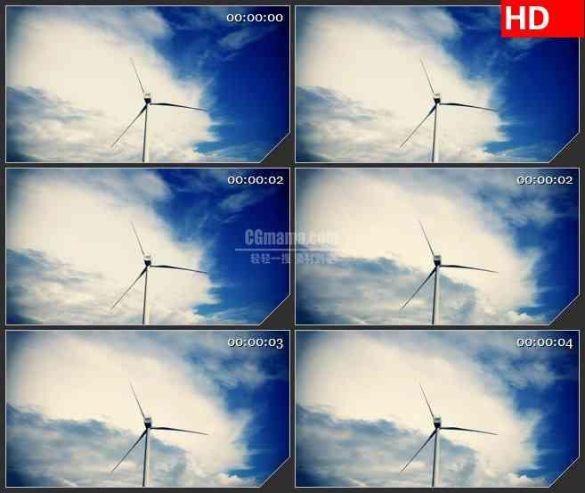 BG1008-蓝天白云流动风能发电机风车系能源高清实拍视频素材