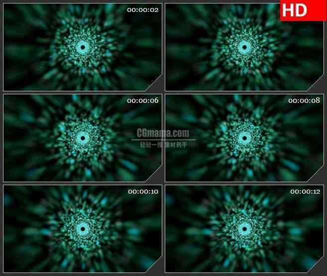 BG1011-绿色粒子光斑隧道黑洞穿梭动态LED高清视频背景素材