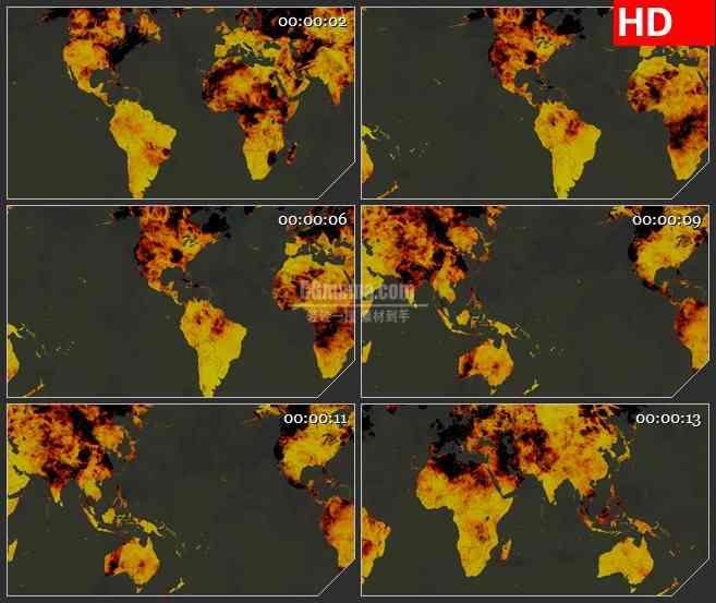 BG1016-燃烧的火焰世界地图LED背景高清视频素材