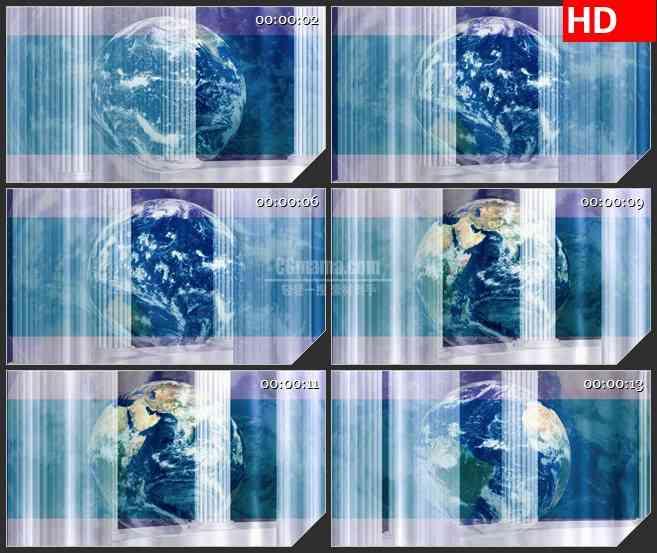 BG1036-三维立体地球旋转蓝色光条LED动态高清背景视频素材