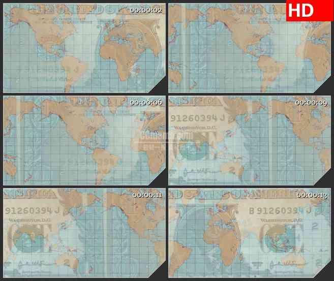 BG1049-世界货币地球版图LED动态高清背景视频素材
