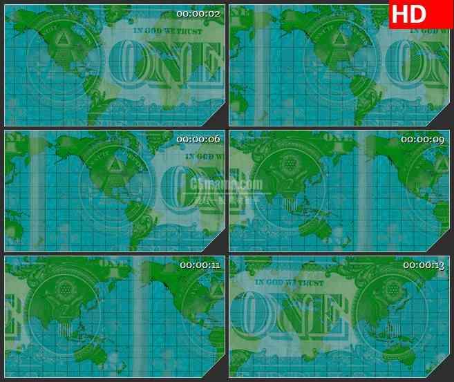 BG1050-世界货币绿色版图LED动态高清背景视频素材