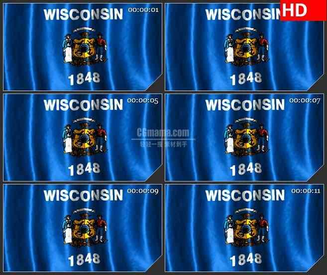 BG1067-威斯康星州的旗帜三维动画飘动高清视频背景素材