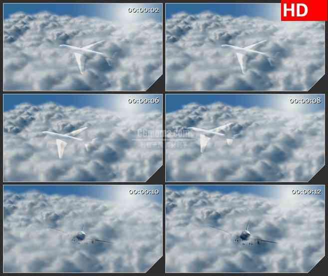 BG1077-云层中的飞机起飞高清led视频素材