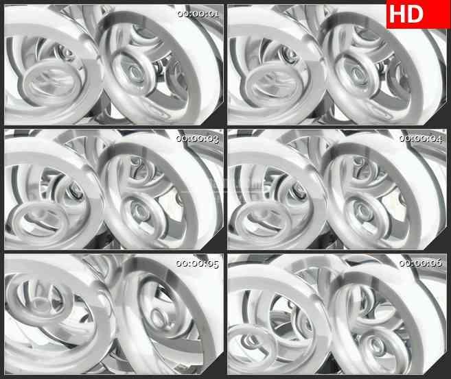 BG1088-白色金属质感半透明圆圈圆环滚动LED高清视频背景素材