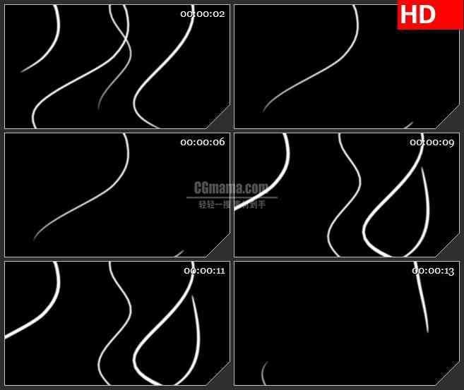 BG1096-飘渺流动的白色光线透明通道黑背景LED动态高清视频背景素材