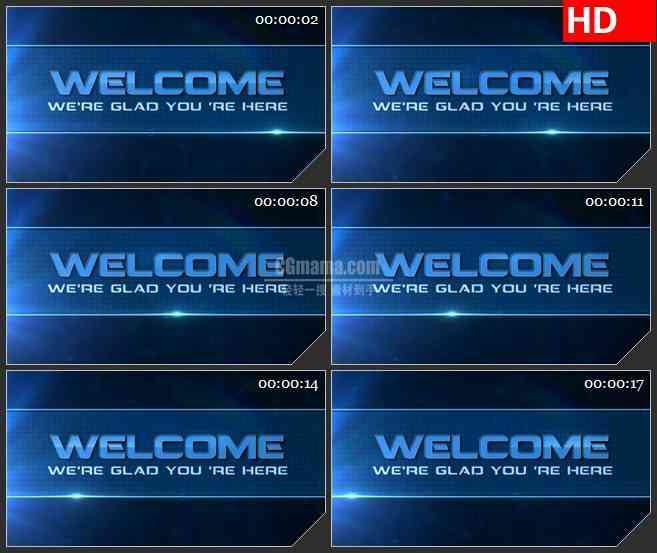 BG1102-蓝色文字欢迎LED高清视频背景素材