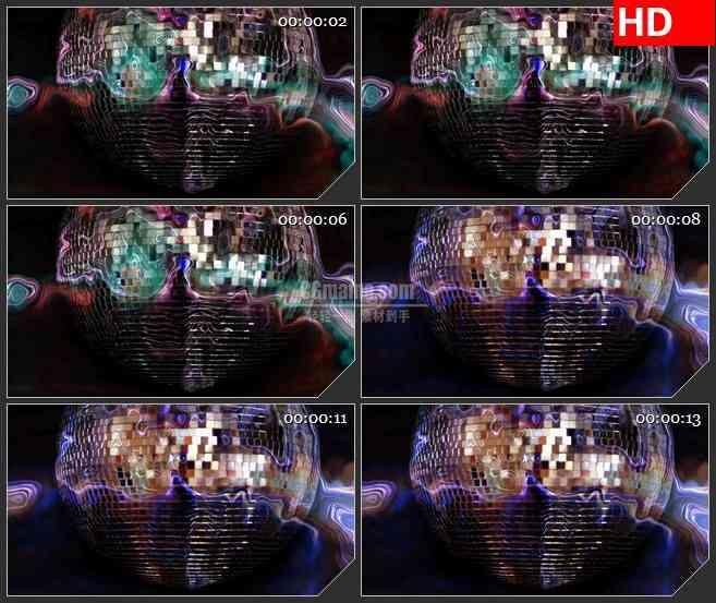BG1105-KTV迪斯科球亮片球旋转特写LED高清视频动态背景素材