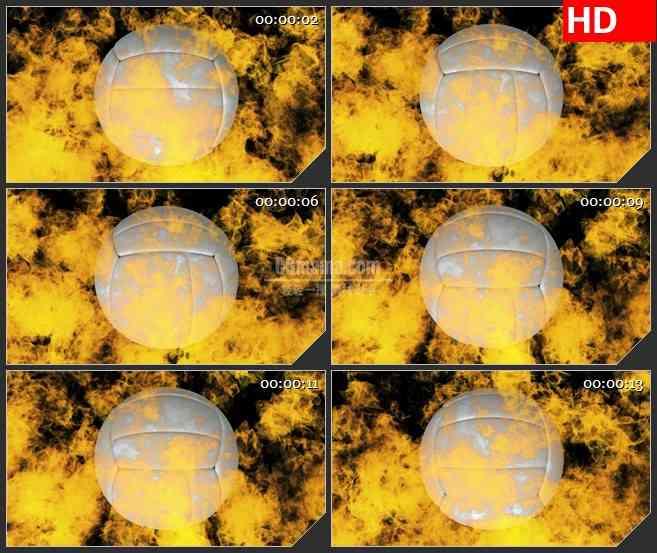 BG1108-白色三维排球转动体育运动灼热橙色火焰燃烧黑色背景动态LED高清视频背景素材