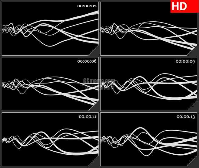 BG1109-白色运动波浪线元素黑色背景透明通道动态LED高清视频背景素材