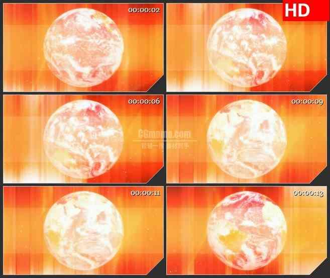 BG1121-橙红色背景白色三维地球转动动态LED高清视频背景素材