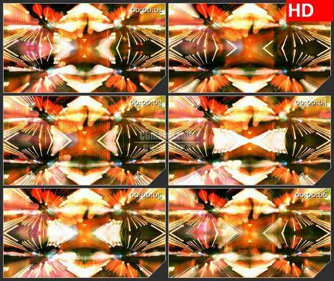 BG1132-橙色道路灯光变形镜万花筒动态LED高清视频背景素材