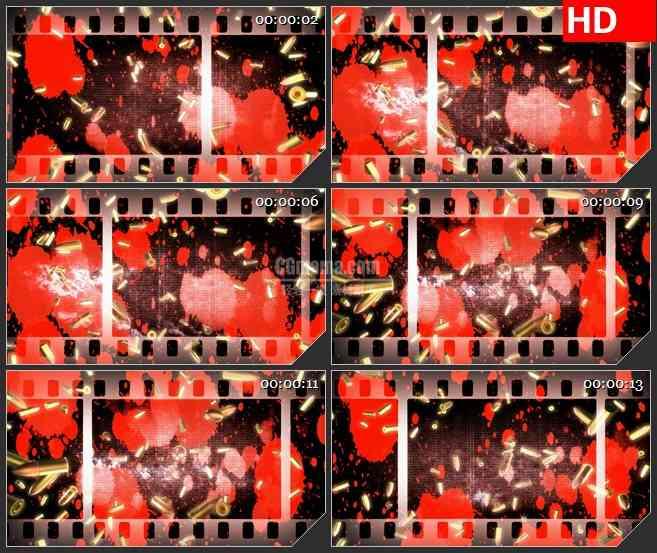BG1141-电影中的暴力血腥胶片子弹壳动态LED高清视频背景素材