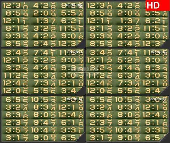 BG1150-改变数字时钟墙动态LED高清视频背景素材