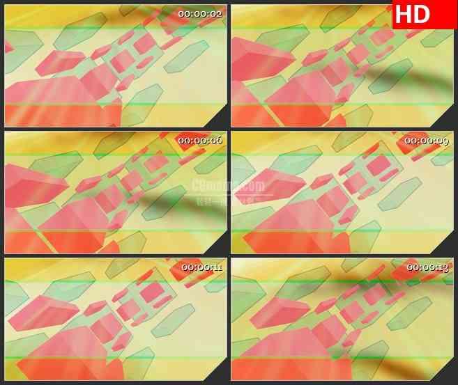 BG1153-古怪粉红色绿色盒子方块圆弧运动动态LED高清视频背景素材