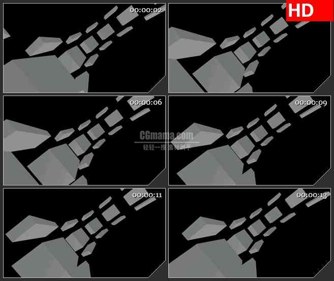 BG1154-古怪灰色盒子方块圆弧运动动态LED高清视频背景素材