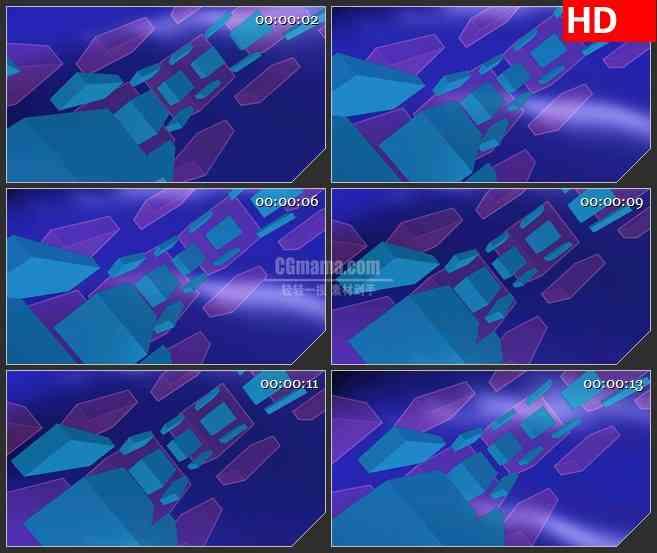 BG1155-古怪蓝紫色盒子方块圆弧运动动态LED高清视频背景素材