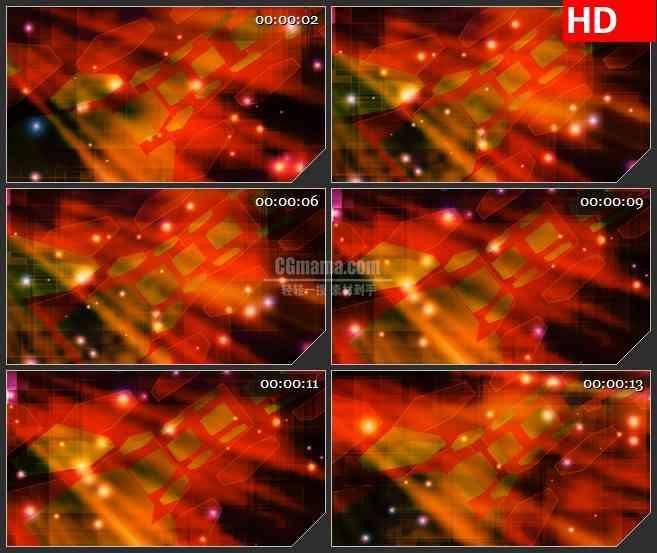 BG1156-古怪三维立体方块暗红色盒子圆弧运动动态LED高清视频背景素材