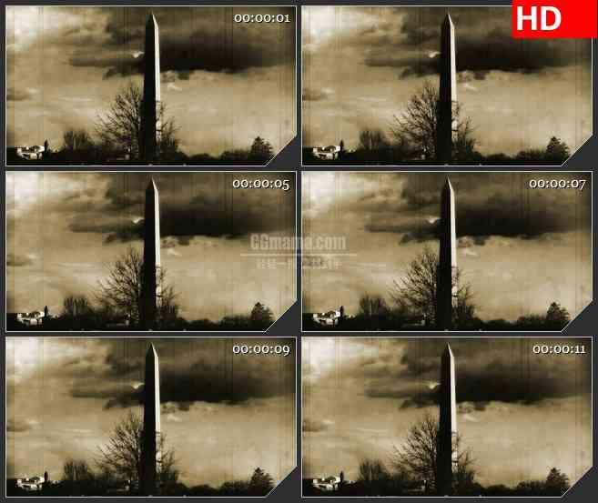 BG1167-华盛顿纪念碑历史胶片记忆动态LED高清视频背景素材
